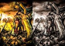 Trzy wielkiego czarownika stoją na stosie zwłoki Obrazy Royalty Free