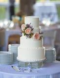 Trzy wielopoziomowy ślubny tort obraz royalty free