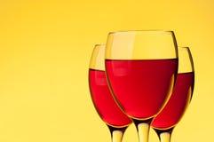 Trzy wina szkła Zdjęcie Royalty Free