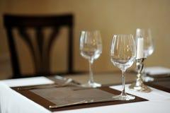 Trzy wina szkła i świeczka Zdjęcie Stock