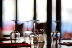 Trzy wina szkła na stole Obrazy Royalty Free