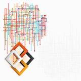 Trzy wymiaru kwadrata w artystycznym projekcie; Technologiczna sieć w skomplikowanym przygotowania Zdjęcie Royalty Free