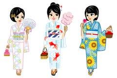 Trzy Yukata dziewczyny Obraz Royalty Free