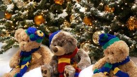 Trzy zabawkarskiego niedźwiedzia siedzą pod choinkami, pięknie dekorować z złocistymi piłkami i girlandami, w centrum handlowym l zbiory wideo