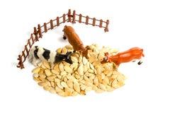 Trzy zabawkarskiej krowy odgórny widok Obrazy Stock