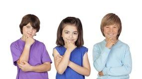 Trzy zadumanego dziecka Fotografia Royalty Free