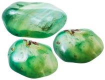 Trzy zielenieją stonowanych agatów gemstones odizolowywających Zdjęcie Royalty Free