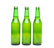 Trzy zielona piwna butelka Zdjęcia Stock