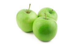 Trzy zielonego jabłka Zdjęcie Stock