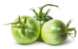 Trzy zielonego pomidoru blisko Obrazy Stock