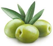 Trzy zielonej oliwki. Obrazy Stock