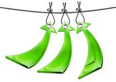 Trzy Zielonej Pozytywnej Strzała Obraz Stock