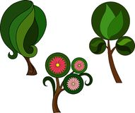 Trzy zielonej rośliny z liśćmi i menchia kwiatami royalty ilustracja