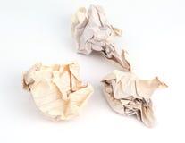 Trzy zmięte stare papierowe piłki Zdjęcia Stock