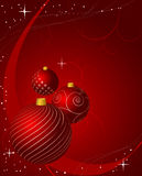 Trzy zmrok - czerwoni drzewni dekoracj baubles dla zima wakacji sezonu royalty ilustracja