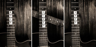Trzy znaka i gitary akustyczne kołysają, błękity, jazz Zdjęcia Stock