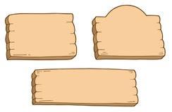 trzy znaki drewnianych Zdjęcia Stock