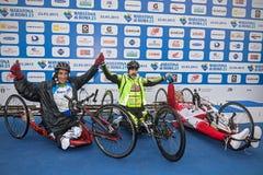 Trzy zwycięzcy biegowy handbike Obrazy Royalty Free