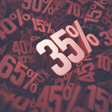 Trzydzieści pięć procentów rabatów Fotografia Stock