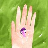 Trzymać pieczarkowy w ręki jesieni akwareli ilustraci royalty ilustracja