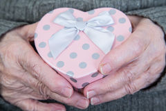 Trzymać prezent paczkę Zdjęcia Royalty Free