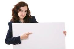 trzymać szyldowej kobiety obraz stock