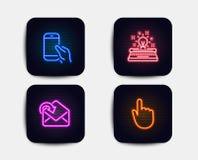 Trzyma smartphone, Otrzymywa, poczta i maszyna do pisania ikony Ręki stuknięcia znak Rozmowa telefonicza, Przybywająca wiadomość, ilustracja wektor