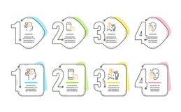 Trzyma smartphone, pieni?dze ikony ustawia?, wiadomo?ci i dochodu Zdrowy twarz znak Rozmowa telefonicza, powiadomienia, bogactwo  ilustracji