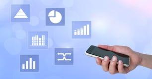 Trzymać telefonu i biznesowej mapy statystyki ikony Zdjęcia Stock