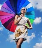 trzymający ładnej parasolowej kobiety młody Obraz Stock