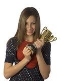 trzymaj nastoletnim klatki piersiowej trofeum Obraz Royalty Free