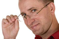 trzymaj okulary człowieku Zdjęcie Stock