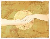 trzymaj ręce ofertę par Obrazy Royalty Free