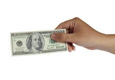 Trzymający 100 Dolarowy Bill Obrazy Royalty Free