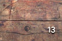 Trzynaście inskrypcja Na drewnie obrazy royalty free