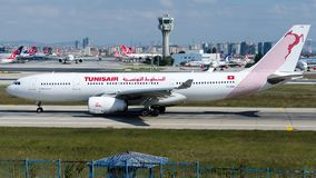 TS-IFM Tunisair , Airbus A330-200. TS-IFM is rolling for take-off on runway 35L at Istanbul Ataturk Airport LTBA, October 5, 2018 royalty free stock images