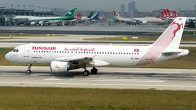 TS-IMR Tunis Air, Airbus A320-200. TS-IMR is rolling for take-off on runway 35L at Istanbul Ataturk Airport LTBA, October 21, 2018 royalty free stock photography