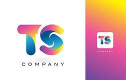 TS Logo Letter With Rainbow Vibrant Mooie Kleuren Kleurrijk t Stock Afbeeldingen