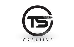 TS muśnięcia listu loga projekt Kreatywnie Oczyszczony list ikony logo royalty ilustracja