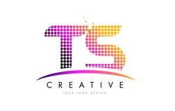 TS T S Brief Logo Design met Magenta Punten en Swoosh royalty-vrije illustratie
