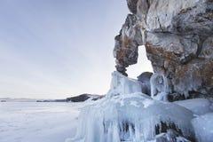 Tsagan-Hushun cape. Lake Baikal, winter landscape Royalty Free Stock Image