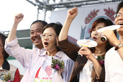 Tsai Ing Wen. Democratic Progressive Party Sinbei City mayoral candidate Tsai Ing Wen (蔡英文) (left) went to Junghe for the campaign on July 25, 2010 in Stock Photo