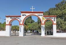 Tsambika教会门 Lindos 库存照片