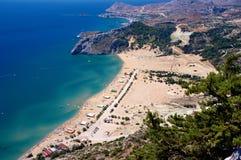 Tsambika beach. On Rhodes Island, Greece. View from the Tsampika monastery stock photos