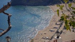 Tsambika beach Rhodes. High view of Tsambika beach Rhodes, Greece, Archangelos, Faliraki stock video footage