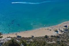 Tsambika beach on the Rhodes island in Greece royalty free stock photos