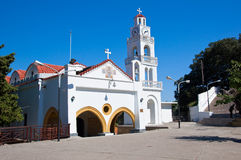 Tsambika-Kloster auf Rhodos-Insel, Griechenland. stockfotografie