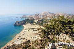 Tsambika, Rhodes. View of the countryside and the coast of Rhodes Royalty Free Stock Image