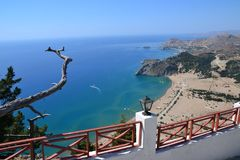Tsambikastrand, Rhodes Island, Griekenland, Europa Stock Foto's