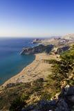 Tsampika beach in Greece - bird's eye view. A view on Tsambika (Tsampika) beach on Rhodes Island, Greece from the Tsampika Monastery Stock Photo
